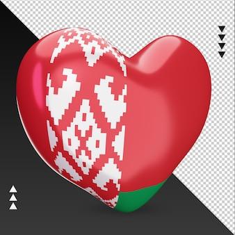 Amour drapeau biélorussie foyer rendu 3d vue gauche