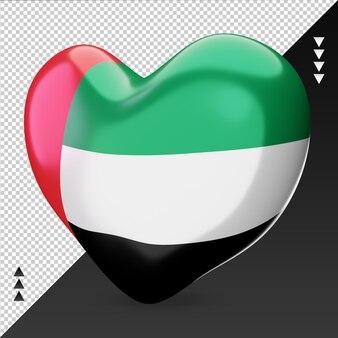 Amour drapeau des émirats arabes unis foyer 3d rendu vue de droite