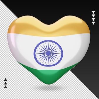 Amour drapeau de l'inde foyer 3d rendu vue de face