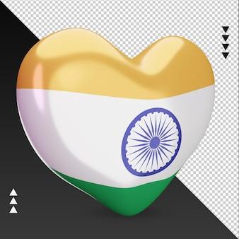Amour drapeau de l'inde foyer 3d rendu vue gauche