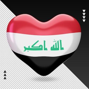 Amour drapeau irak foyer 3d rendu vue de face