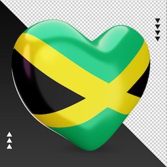 Amour drapeau jamaïque foyer 3d rendu vue gauche