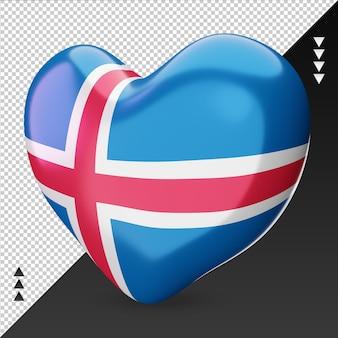 Amour drapeau malte foyer 3d rendu vue de droite