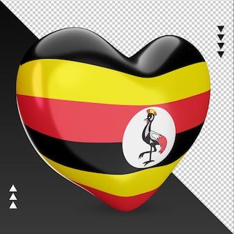 Amour drapeau ouganda foyer 3d rendu vue gauche
