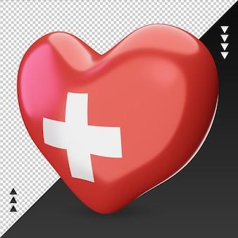 Amour drapeau suisse foyer 3d rendu vue droite