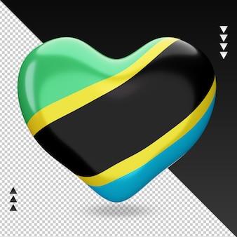Amour drapeau tanzanie foyer 3d rendu vue de face