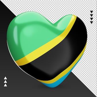 Amour drapeau tanzanie foyer rendu 3d vue gauche