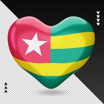 Amour drapeau togo foyer 3d rendu vue de face