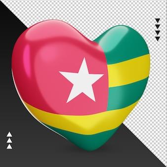 Amour drapeau togo foyer rendu 3d vue gauche