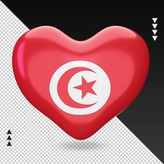 Amour drapeau tunisie foyer 3d rendu vue de face