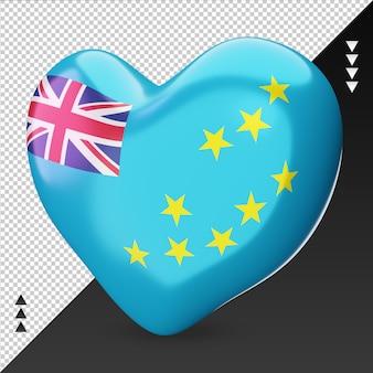 Amour drapeau tuvalu foyer 3d rendu vue de droite