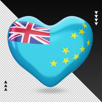 Amour drapeau tuvalu foyer 3d rendu vue de face