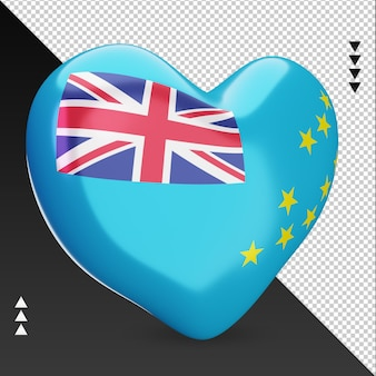 Amour drapeau tuvalu foyer 3d rendu vue gauche