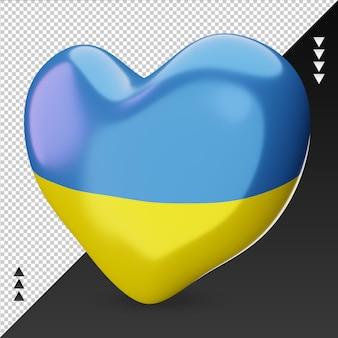 Amour drapeau ukraine foyer 3d rendu vue de droite
