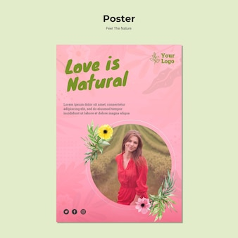 L'amour est un modèle d'affiche naturel