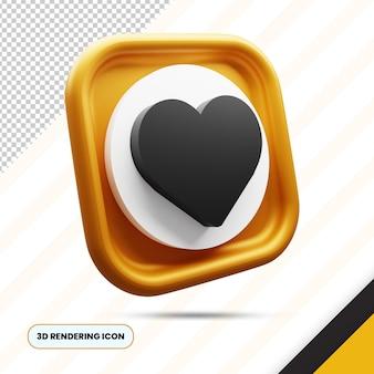 Amour et icône de rendu 3d doré préféré png