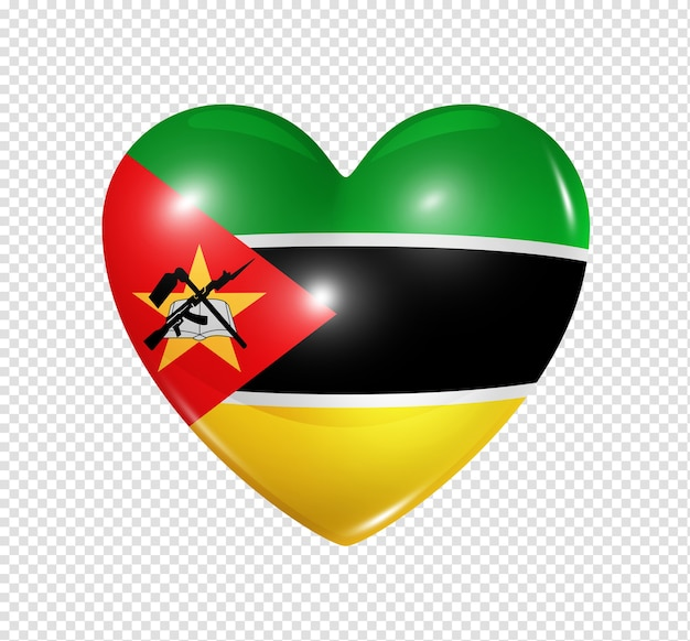 Amour mozambique symbole d'un coeur 3d avec conception de drapeau isolé