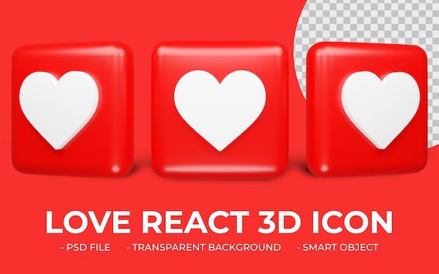 L'amour réagit ou instagram comme l'icône de réaction icône 3d