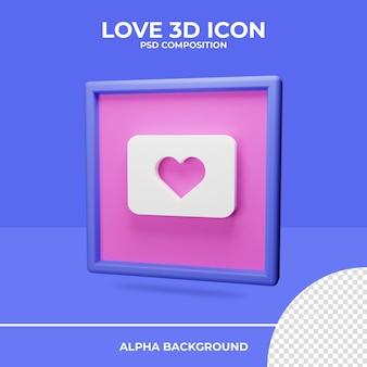 Amour rendu 3d icône rendu