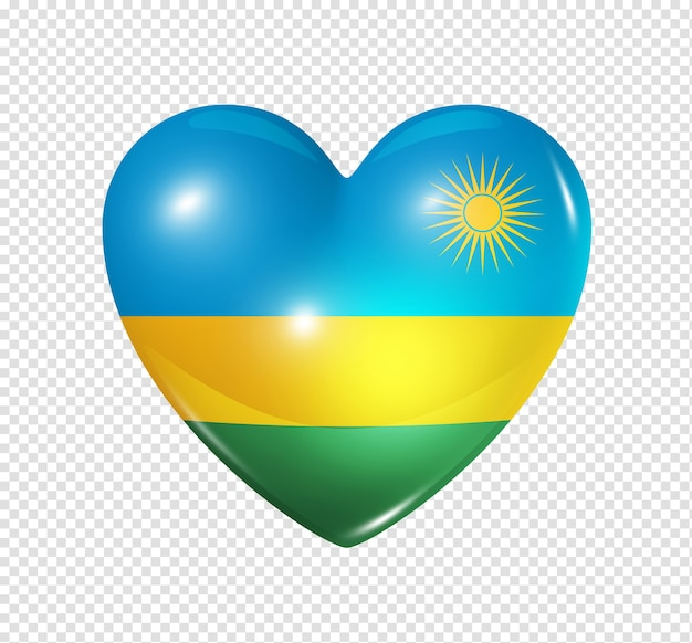 Amour rwanda symbole 3d icône du drapeau coeur isolé sur blanc avec un tracé de détourage