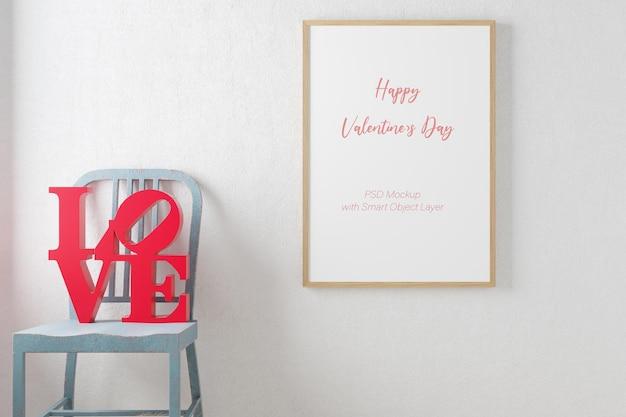 Amour et saint valentin avec maquette de cadre photo