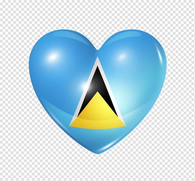 Amour sainte-lucie symbole icône de drapeau coeur 3d isolé sur blanc avec un tracé de détourage