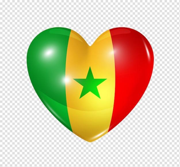 Amour sénégal symbole 3d coeur drapeau icône isolé sur blanc avec un tracé de détourage