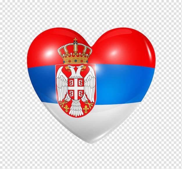 Amour serbie symbole 3d coeur drapeau icône isolé sur blanc avec un tracé de détourage