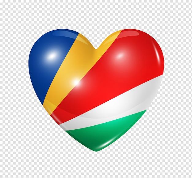 Amour seychelles symbole icône de drapeau coeur 3d isolé sur blanc avec un tracé de détourage