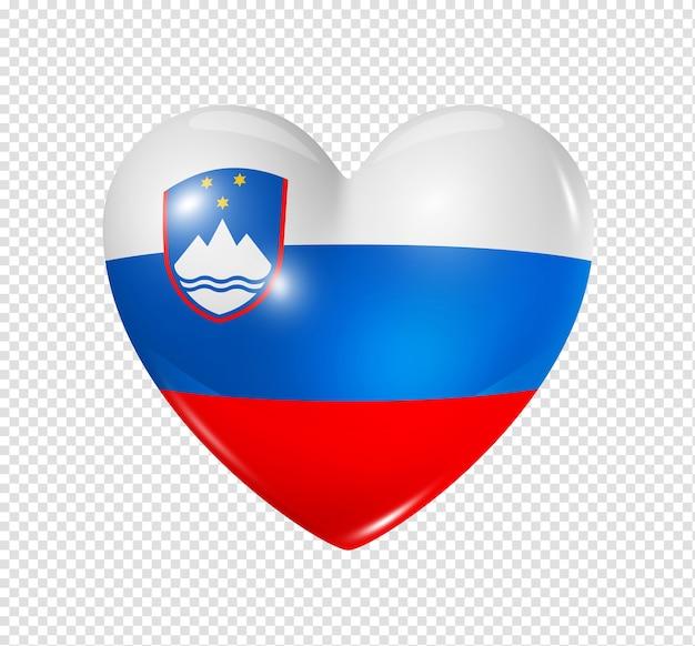 Amour slovénie symbole icône de drapeau coeur 3d isolé sur blanc avec un tracé de détourage