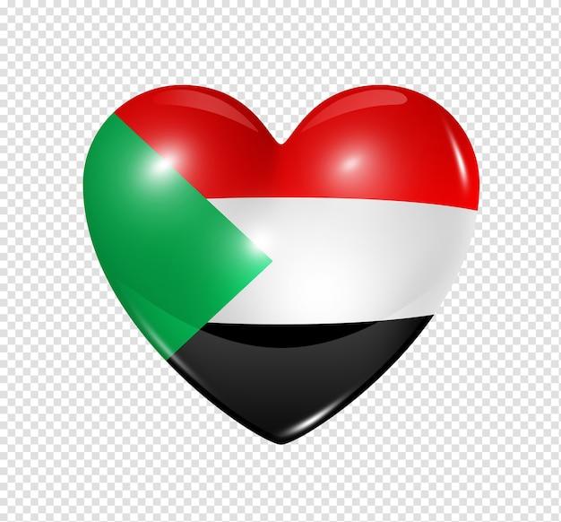 Amour soudan symbole 3d icône du drapeau coeur isolé sur blanc avec un tracé de détourage