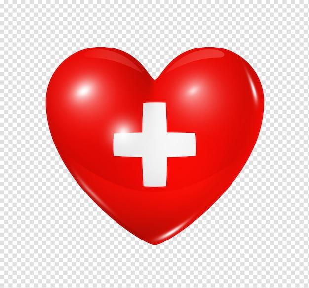 L'amour de la suisse, l'icône du drapeau coeur