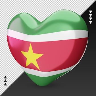 Amour suriname drapeau foyer rendu 3d vue de droite