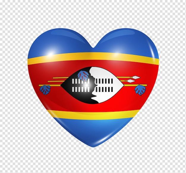 Amour swaziland symbole 3d icône de drapeau coeur isolé sur blanc avec un tracé de détourage