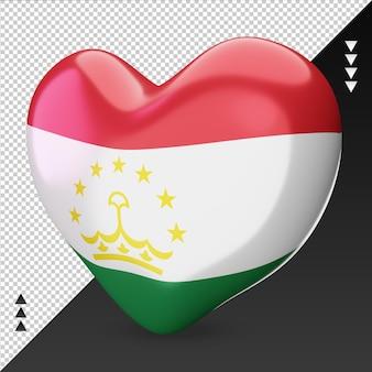 Amour tadjikistan drapeau foyer rendu 3d vue droite