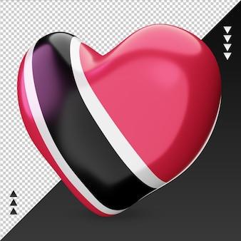 Amour trinité-et-tobago drapeau foyer rendu 3d vue droite