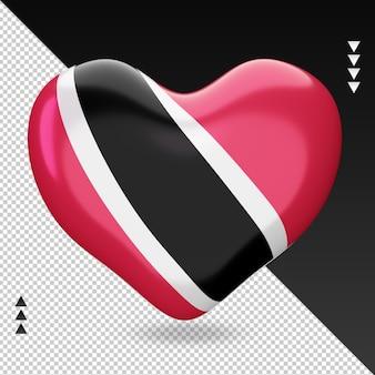 Amour trinité-et-tobago drapeau foyer rendu 3d vue de face