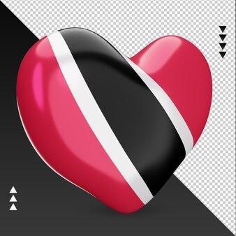 Amour trinité-et-tobago drapeau foyer rendu 3d vue gauche