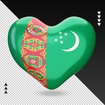 Amour turkménistan drapeau foyer rendu 3d vue de face