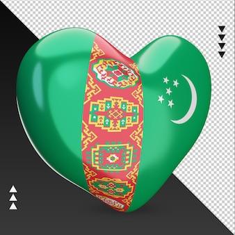 Amour turkménistan drapeau foyer rendu 3d vue gauche