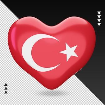 Amour turquie drapeau foyer rendu 3d vue de face