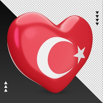 Amour turquie drapeau foyer rendu 3d vue gauche