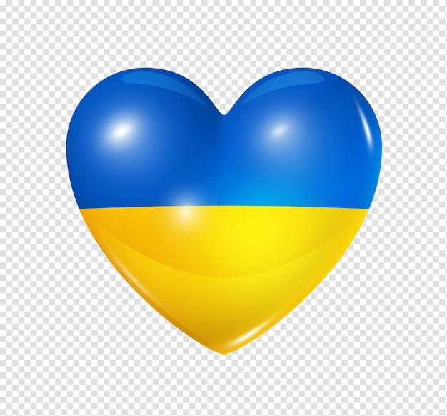 Amour ukraine symbole 3d coeur drapeau icône isolé sur blanc avec un tracé de détourage