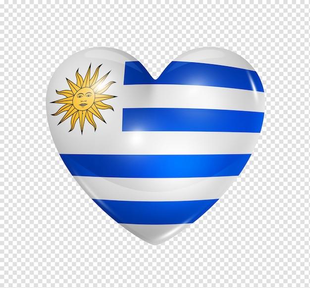 Amour uruguay symbole 3d icône du drapeau coeur isolé sur blanc avec un tracé de détourage