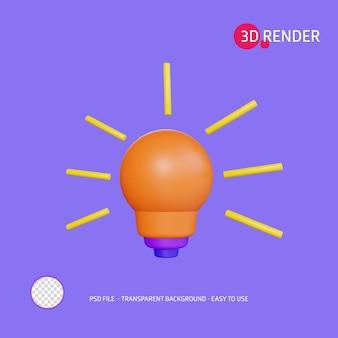 Ampoule d'icône de rendu 3d