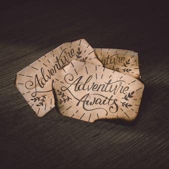 Ancienne maquette en papier pour concept d'aventure