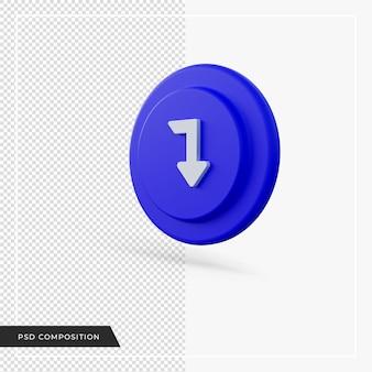 Angle de flèche pointant vers le bas icône bleue rendu 3d