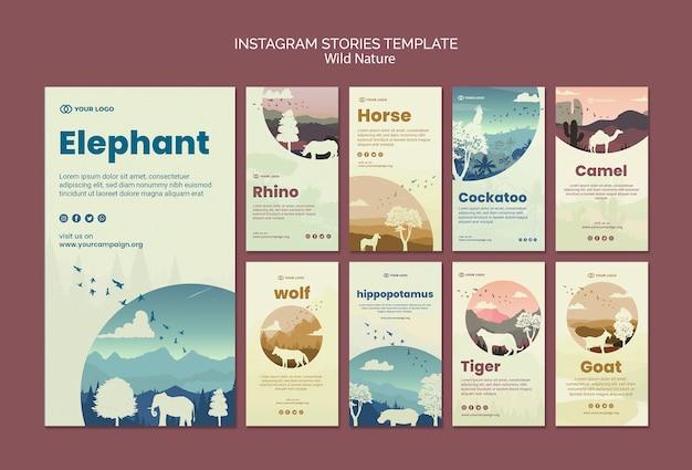 Animaux sauvages dans des histoires instagram nature