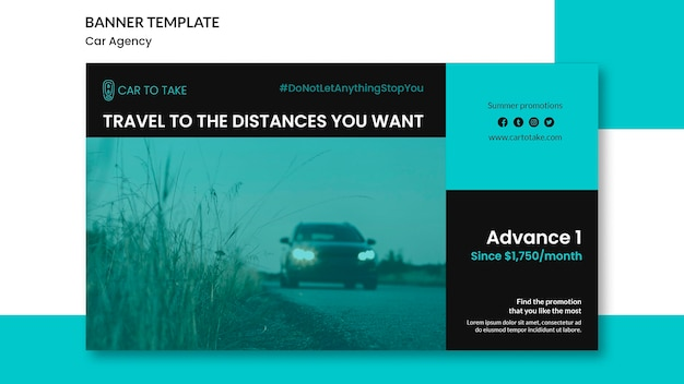 Annonce d'agence de voiture de modèle de bannière