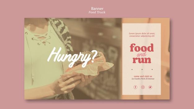 Annonce de camion de nourriture de modèle de bannière